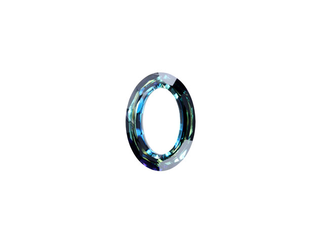 Cosmic Oval Ring Crystal Bermuda Blue 15mm