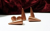 6 Spike Beads Copper 7x17mm